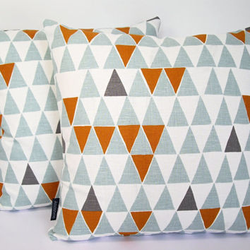Scandinavian Geometric fabric cushion cover - Jaffa Blue