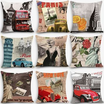 Hot sale cheap cushions scenic Paris Print Home Decorative Cushion Throw Pillow Vintage Cotton Linen Square Pillows MYJ-C5