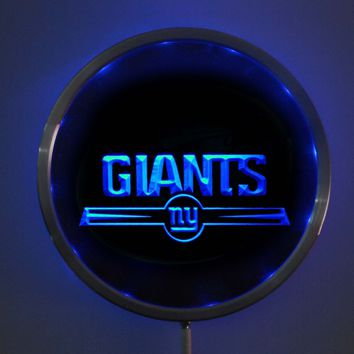 rs-b0051 New York Giants LED Neon Round Signs 25cm/ 10 Inch - Bar Sign with RGB Multi-Color Remote Wireless Control Function
