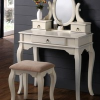 Happy Home Deals! - Vanity Set w/ Curved Leg Design Stool and Table in White Finish