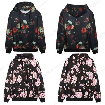 Pink Plum Blossom Skateboarding Hoodie Retro Floral Flowers Sweatshirt Hip Hop Pullover Autumn Men Tracksuits Unisex Jackets