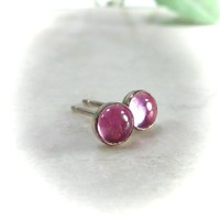 Stud Earrings Gold 4mm Pink Sapphire