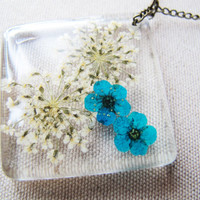 Blue Prunus mume Necklace, Pressed flower Necklace, Queen Annes Flower,botanical necklace, real flower jewelry, clear resin necklace