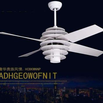 Modern minimalist lobby restaurant fans white fan chandelier ceiling chandelier fan light remote control 52inch LED Fan lights