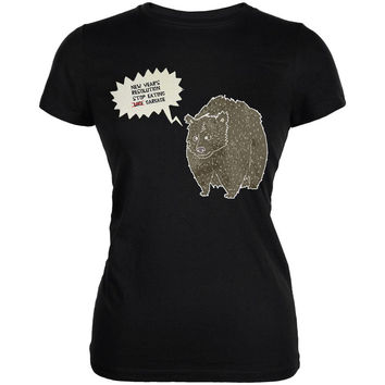 New Year's Stop Eating Garbage Black Juniors Soft T-Shirt