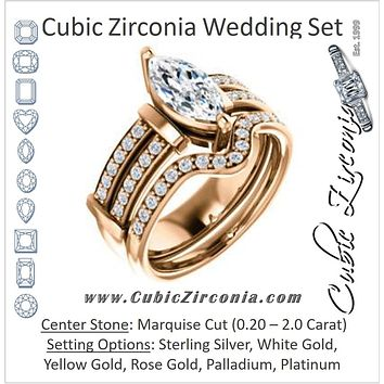CZ Wedding Set, featuring The Rachana engagement ring (Customizable Marquise Cut Design with Wide Split-Pavé Band and Euro Shank)