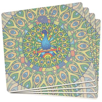 Mandala Trippy Stained Glass Peacock Set of 4 Square SandsTone Art Coasters