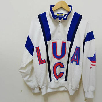 Ucla big logo sweater Half zip American flag sports wear Street wear vintage