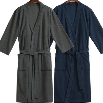 Men Waffle Bath Robe Suck Water Cotton Bathrobe Male Night Dressing Gown Mens Plus Size Kimono Robes Classic Lounge Sleepwear