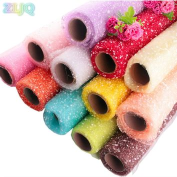 ZLJQ 52cmx3.5m Snowflake Glitter Tulle Roll Flower Wrapper Wedding Decor Organza DIY Crafts Party Decorations Supplies 6D