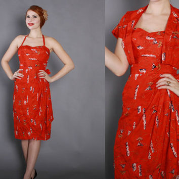 50s SILK HAWAIIAN Sarong DRESS / 1950s Unworn Novelty Print Rockabilly Sun Dress with Bolero