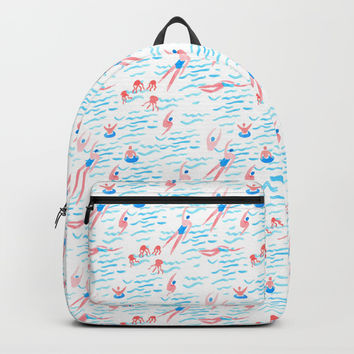 swimmers in the sea pattern Backpacks by Anyuka