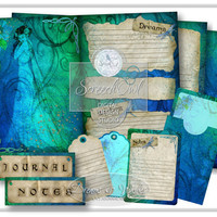 Journal Kit, Scrapbook Kit, Printable Journal, Art Journal, Paper Craft, Craft Supplies - Dreams and Wishes