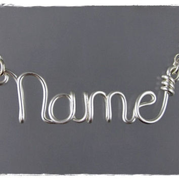 FREE SHIPPING!!!  Personalized, Customized Wire Name or Word Pendant Necklace