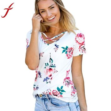 Flower Printing T-Shirt 2017 Womens Cross Front Strapless Sexy V neck Short Sleeve Tank Crop Tops Hot Sale 3 Colors Shirts