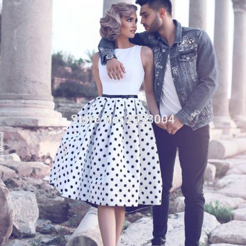 Black and White Short Spot Cocktail Dresses 2016 Vestido De Festa Curto	Wedding Party Dress