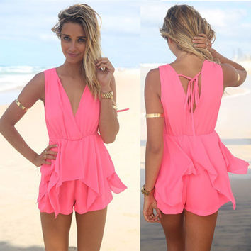 Pink print summer Jumpsuit short dress v neck floral dress  = 4769219780