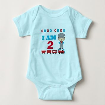 CHOO CHOO I AM 2 Train Themed Baby Cloths Baby Bodysuit