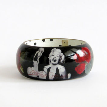 Marilyn Monroe bangle wood bracelet decoupage statement jewelry red roses hand painted porcelain shine