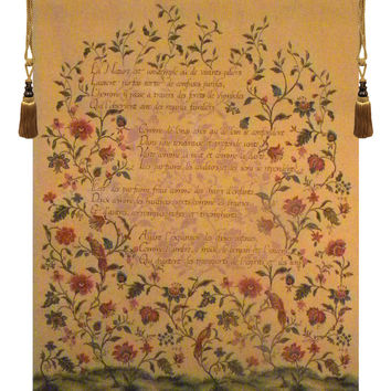 French Poem and Birds Tapestry Wall Art Hanging
