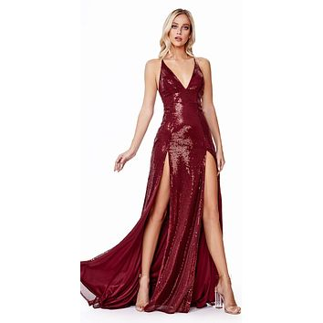 Long Fitted Sequin Dress Burgundy Double Slits Deep Plunging Neckline