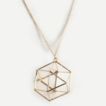 New Geometry Hexagon Necklace - $12.00 : ThreadSence, Women's Indie & Bohemian Clothing, Dresses, & Accessories
