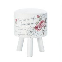Romantic Butterfly And Roses White Post Stool