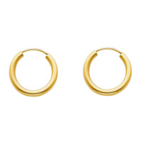 Dainty Baby Huggie Hoop Earrings 15MM - 14K Solid Yellow Gold