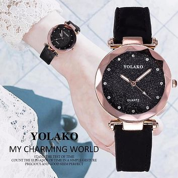 Hot Fashion, Romantic Starry Sky, Leather Rhinestone Designer Ladies YOLAKO Brand Clock