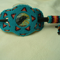 Native American Rosette beaded Raven Hair Stick Barrette in Cerulean and Fire Colors
