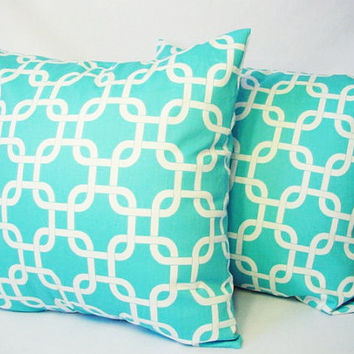 2 Teal Decorative Throw Pillow Covers in Teal Blue and White - 16 x 16 inches Cushion Cover Accent Pillow