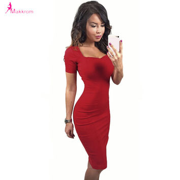 solid red color summer style dresses 2017 women fashion dress short sleeve knee-length dress empire work slim pencil dress