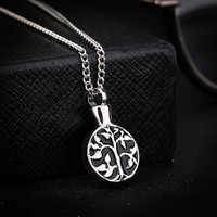 Trendy Tree of Life Cremation Pendant Necklace Eternity Immortality Love Locket Memorial Keepsake Screw Ashes Urn Jewelry