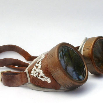 Steampunk Goggles with brown leather