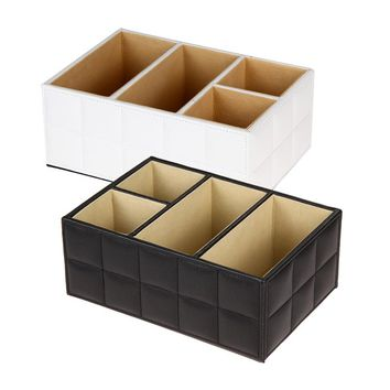 PU Leather Storage Boxes Comestic Makeup Organizer Sundries Storage Remote Control Phone Holder Home Organizer