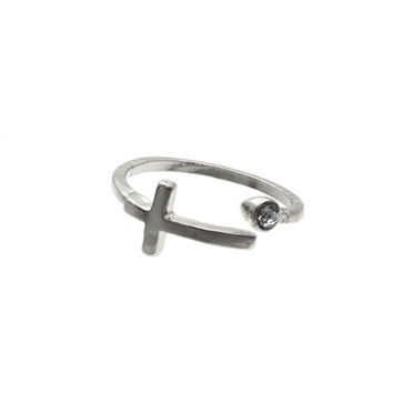 Silver Cross Knuckle Ring