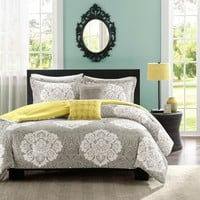 Full / Queen Grey White Damask Comforter Set with Soft Yellow Reverse