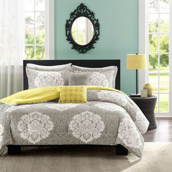 Twin / Twin XL Grey White Damask Comforter Set with Soft Yellow Accents