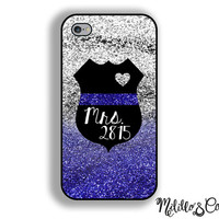 Thin Blue Line Police Wife Phone Case for Apple iPhone 4, 5, 5c, 6 and 6 plus Samsung Galaxy s3, s4 and s5 & Phone Stand - Custom Badge #