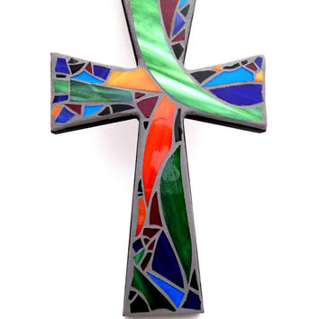 "Mosaic Wall Cross, Abstract Floral Design, ""Summer Garden"", Multicolored/Bright Handmade Stained Glass Mosaic 12"" x 8"""