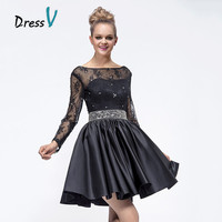 Little Black Dresses Short  Homecoming Dresses 2016 Sheer Scoop Lace Long Sleeves with Beads Prom Dresses Cocktail Party Gowns