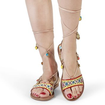 Gioseppo Brown Synthetic Leather Sandals