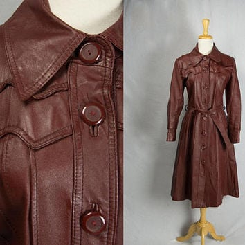 Vintage 70s Oxblood Leather Belted Trench Coat M L Burgundy Glam Spy Girl