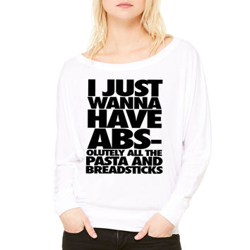 I Just Wanna Do Hoodrat Stuff With My Friends WOMEN'S FLOWY LONG SLEEVE OFF SHOULDER TEE