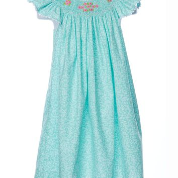 Mom & Me Teal Smocked Floral Angel Wing Dress