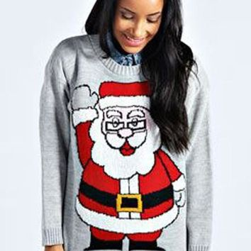 Grey Santa Claus Print Beautiful Christmas Long Sleeve Cute Pullover Sweater