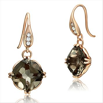 14K Rose Gold 5CT Cushion Cut Smokey Topaz Drop Earrings
