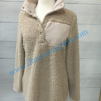PREORDER Monogram Sherpa Pullover, Fleece Sherpa Pullover, Monogrammed Pullover - CREAM Child and Adult