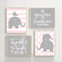 Girl Elephant Nursery Wall Art, Pink Gray ELEPHANT Decor, You Are My Sunshine, Twinkle Little Star, Baby Girl Elephant Quote Decor, Set of 4