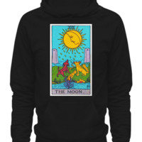 The Moon Tarot Card Adult Hoodie Unisex Man's Woman's Ladies Black moonhoodieblack